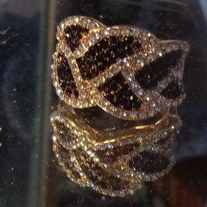 SPARKLY1 8K Yello Gold Filled White/Black CZ Ring